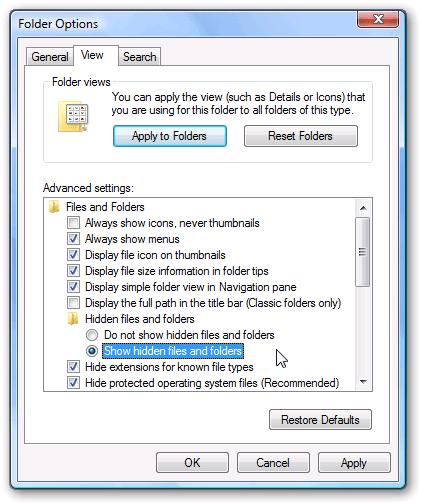 Cách ẩn hiện file/folder thư mục trên Win XP,7,8,10